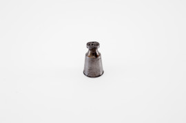 English antique iron oil bottle for cased pistol set