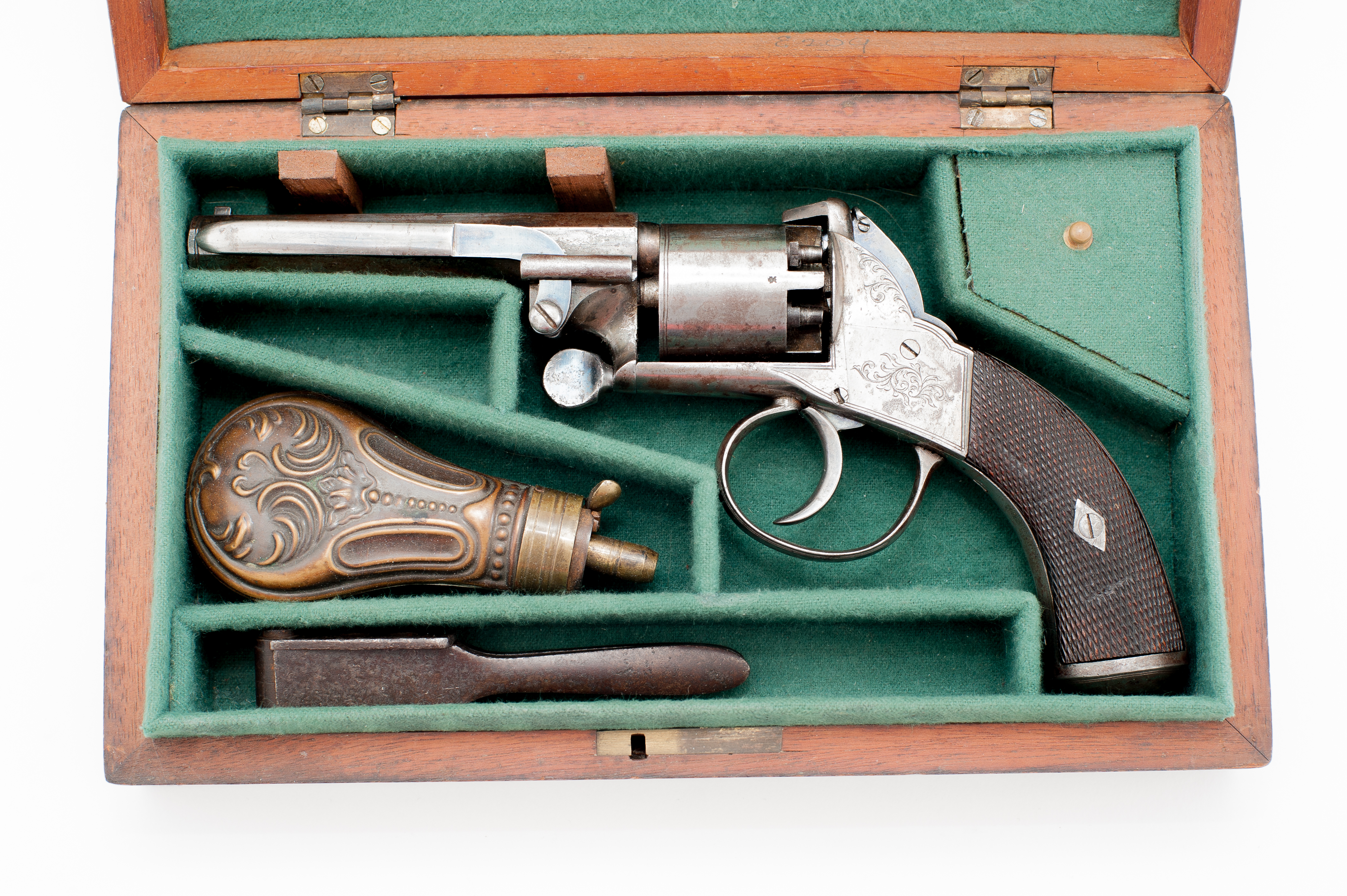 Dickinson double action percussion revolver cased authentic .38 caliber engraved