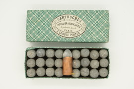 full box French 12 mm pinfire cartridges Houllier Blanchard, Paris, France original perfect label Arquebusier Brevette