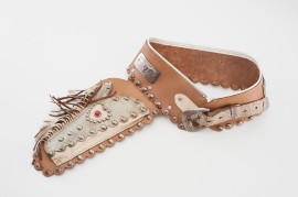 KIds Cap Gun Leather Holster & Buscadero Cartridge Belt Cowboy studded fringed stamped engraved steel