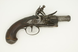 French flintlock pocket pistol cannon type flared barrel 1760-1790