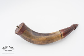 Antique American Indian used powder horn carved decoration James Dresslar collection red ochre paint iron nails