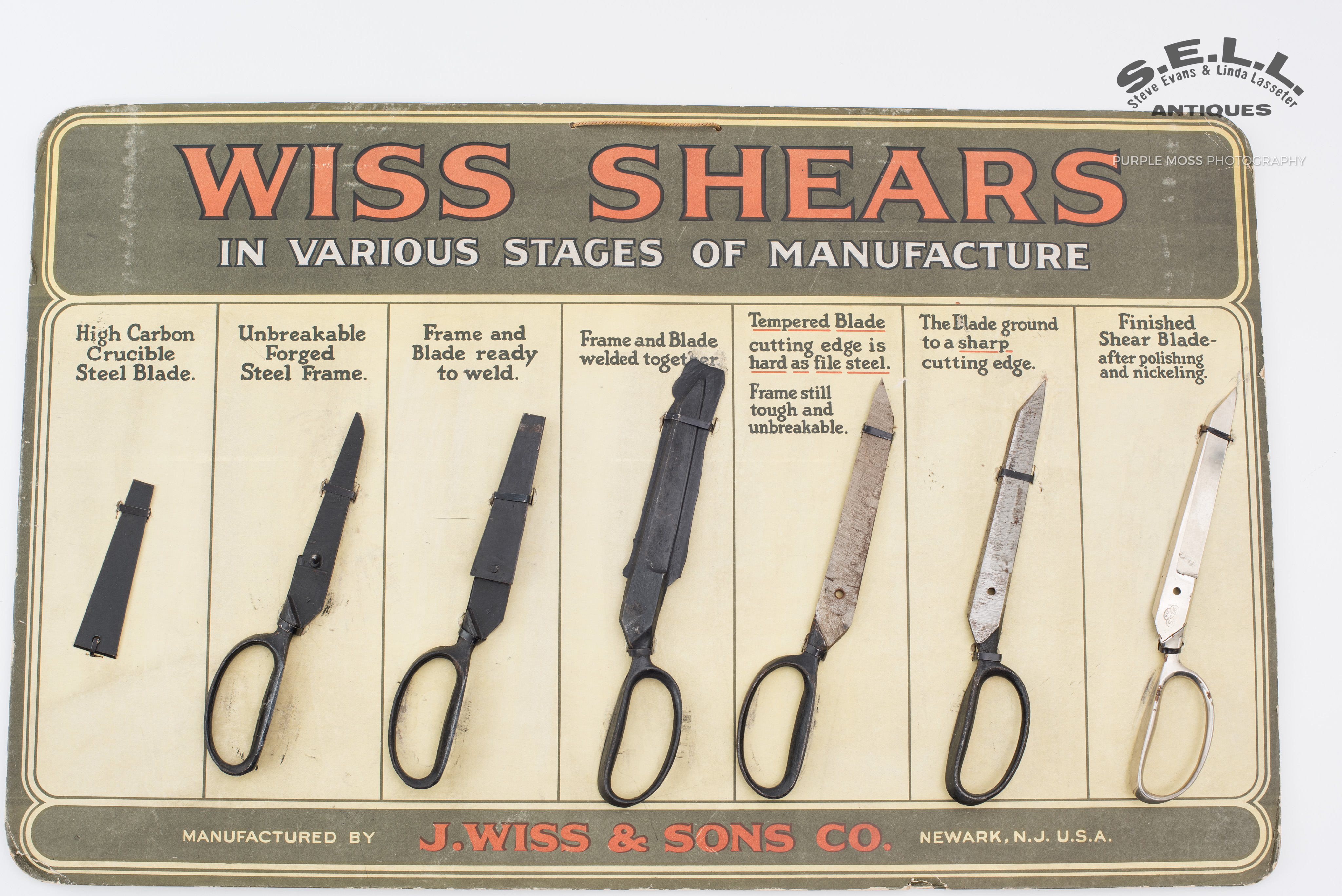 rare J. Wiss & Sons Co. scissors / shears store display board