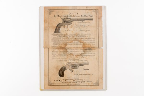 Antique Colt's Patent Fire-Arms Mfg. Co. Broadside Single Action New Line Hartford Conn.