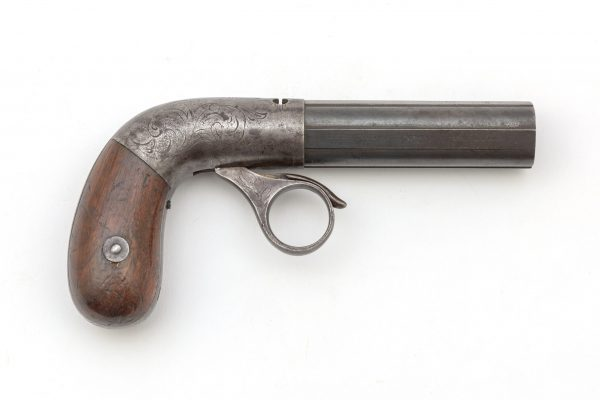 19th century patent # 6723 Robbins And Lawrence 4 shot ring trigger antique engraved cast steel