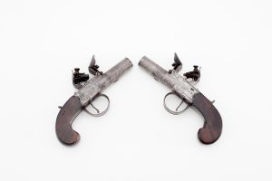Pair English Archer boxlock flint pistols antique authentic screw barrel .50 caliber engraved walnut stocks