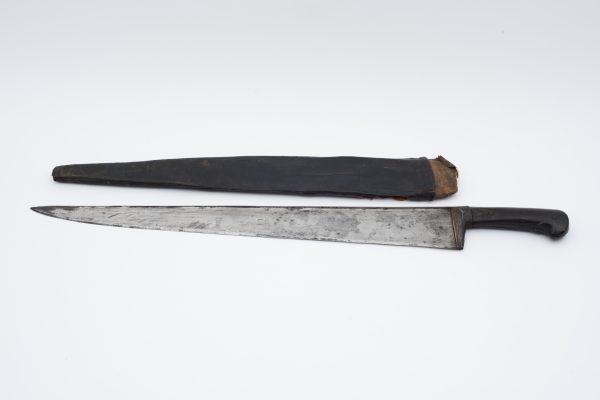 1800's hand forged knife horn handle sword wood scabbard sale sell antiques antique arms slc utah
