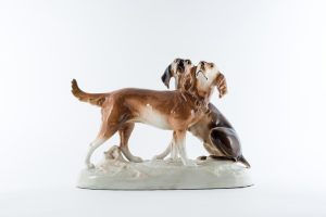 Royal Dux Hunting Dogs Ceramic Figure Czech Republic hand painted Solubert vintage