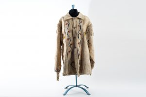 beaded fringed Indian jacket brain tanned deer skin Native American