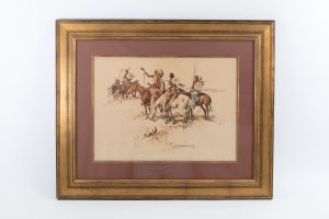 Nick Eggenhofer watercolor vintage 1948 Native American Indians war ponies