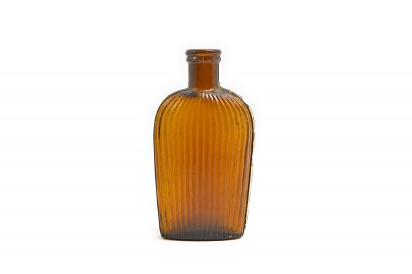 dark amber ribbed mold seam flask shape bubbles antique