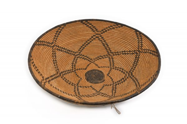 Apache basket devils claw hand woven willow rods nomadic tightly woven antique yucca root old geometric design Southwest