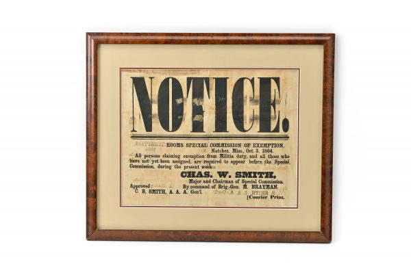 Chas. W. Smith Brig. General M. Brayman exemtion from duty Natchez Courier Print Mississippi Civil War Broadside